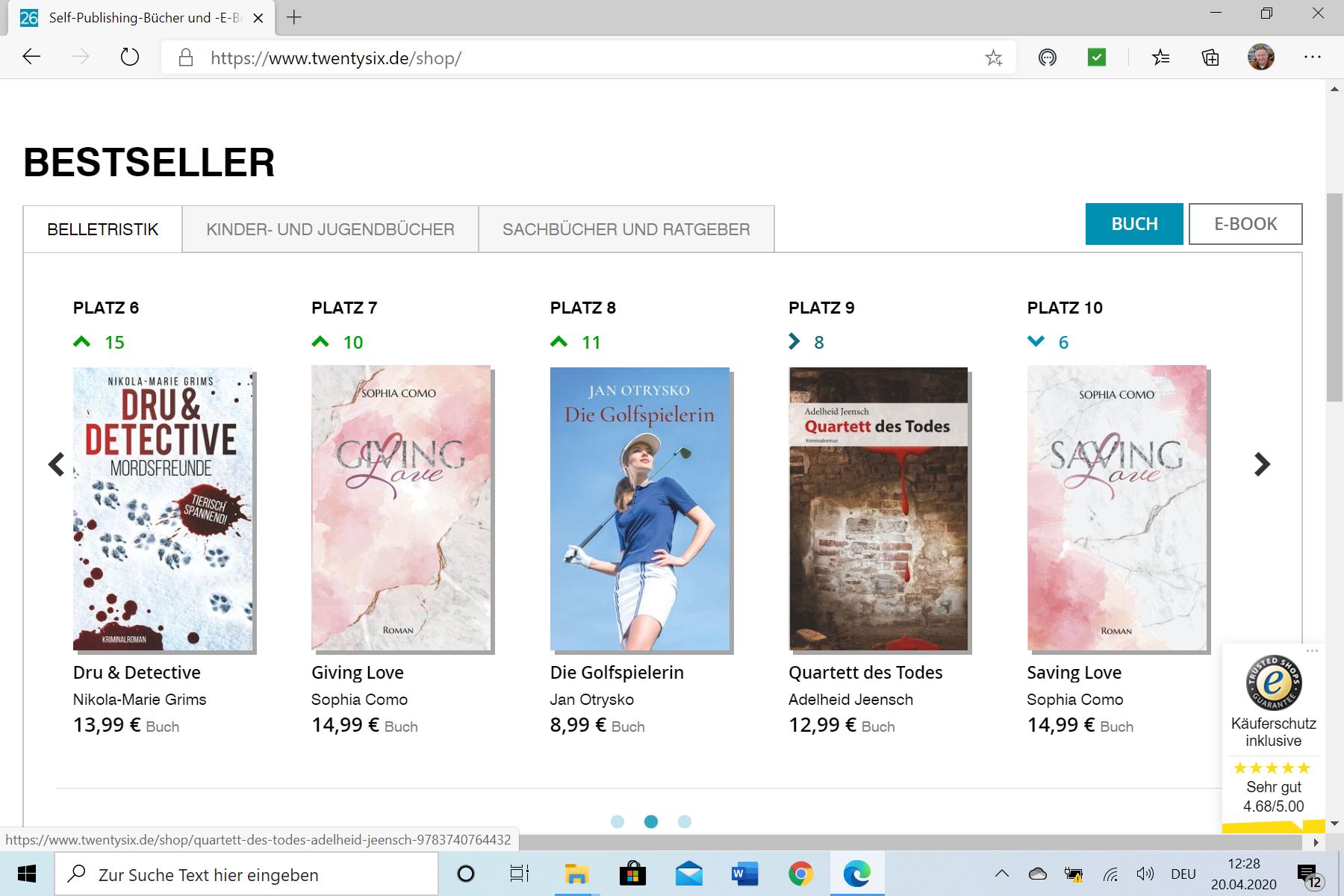 """""""Die Golfspielerin"""" als Bestseller auf Platz Nummer 8. (21.04.2020)"""